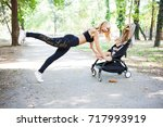 young fitness mother exercising ... | Shutterstock . vector #717993919