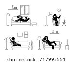 stick figure resting at home... | Shutterstock . vector #717995551