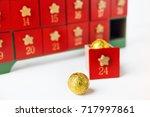 advent calender. wooden advent...   Shutterstock . vector #717997861