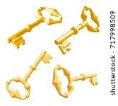 vintage old golden key on a...   Shutterstock .eps vector #717998509