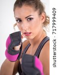 closeup of fitness woman with... | Shutterstock . vector #717999409
