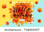 autumn sale flyer template with ... | Shutterstock .eps vector #718003357
