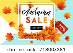 autumn sale flyer template with ... | Shutterstock .eps vector #718003381