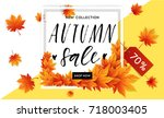 autumn sale flyer template with ... | Shutterstock .eps vector #718003405