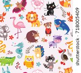 vector seamless pattern with... | Shutterstock .eps vector #718005409