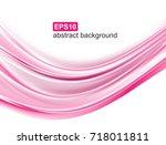 vector abstract pink waves... | Shutterstock .eps vector #718011811
