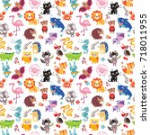 vector seamless pattern with... | Shutterstock .eps vector #718011955