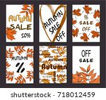 collection of autumn sale and... | Shutterstock .eps vector #718012459