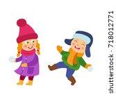 vector boy and girl having fun... | Shutterstock .eps vector #718012771