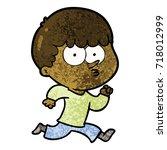 cartoon curious boy running   Shutterstock .eps vector #718012999