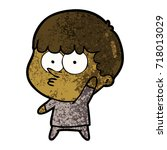 cartoon curious boy waving   Shutterstock .eps vector #718013029