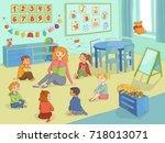 vector flat children   boys and ... | Shutterstock .eps vector #718013071