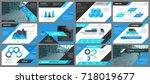 blue business presentation... | Shutterstock .eps vector #718019677