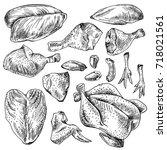 chicken cuts  hen parts.... | Shutterstock . vector #718021561