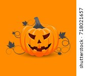 pumpkin on orange background.... | Shutterstock .eps vector #718021657