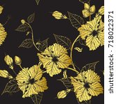 hibiscus flower pattern by hand ...   Shutterstock .eps vector #718022371