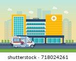 modern hospital building ...   Shutterstock .eps vector #718024261
