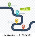road map with colorful bright marks markers and road with a paved route roadmap - Free Roadmap Template