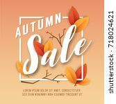 autumn sale square banner... | Shutterstock .eps vector #718024621