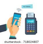 pos terminal confirms the... | Shutterstock .eps vector #718024807