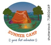 camping illustration of summer... | Shutterstock .eps vector #718026169