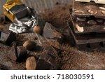 chocolate   chocolate bar on...   Shutterstock . vector #718030591