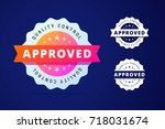 approved stamp with three color ... | Shutterstock .eps vector #718031674