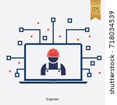 engineer sign and computer... | Shutterstock .eps vector #718034539