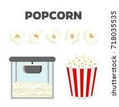 popcorn set. colorful vector... | Shutterstock .eps vector #718035535