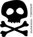 black silhouette of  skull ... | Shutterstock .eps vector #718035649