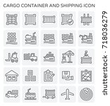 vector line icon of cargo... | Shutterstock .eps vector #718036279