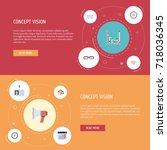 flat icons calendar  cogwheel ... | Shutterstock .eps vector #718036345