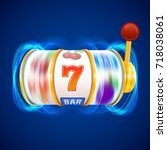 golden slot machine wins the... | Shutterstock .eps vector #718038061