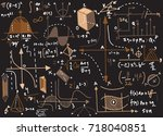 physical formulas and... | Shutterstock .eps vector #718040851