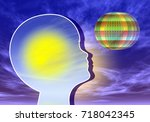 child in coma. young patient in ... | Shutterstock . vector #718042345