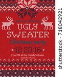 ugly sweater christmas party... | Shutterstock .eps vector #718042921