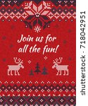 ugly sweater christmas party... | Shutterstock .eps vector #718042951