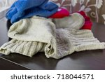 rugged woolen socks and other... | Shutterstock . vector #718044571
