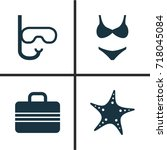 summer icons set. collection of ... | Shutterstock .eps vector #718045084