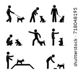 man dog training stick figure ... | Shutterstock .eps vector #718048195