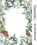watercolor christmas floral... | Shutterstock . vector #718050901