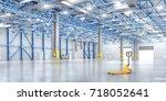 empty warehouse. 3d illustration | Shutterstock . vector #718052641