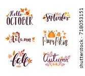 autumn hand drawn lettering... | Shutterstock .eps vector #718053151