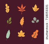 set of colorful autumn leaves.... | Shutterstock .eps vector #718053331
