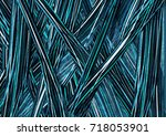 abstract exotic tropical leaf...   Shutterstock . vector #718053901