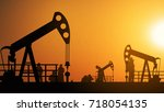 oil pump oil rig energy...   Shutterstock . vector #718054135