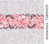 seamless pattern of flowers on...   Shutterstock .eps vector #718054225