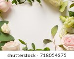 flowers composition with place... | Shutterstock . vector #718054375