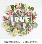flowers composition with word... | Shutterstock . vector #718054591