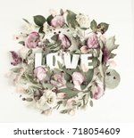 flowers composition with word... | Shutterstock . vector #718054609